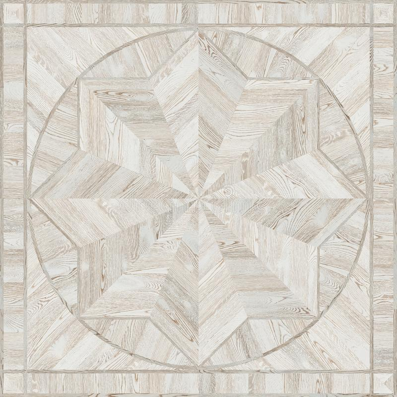 Medallion design grunge parquet floor, wooden seamless texture royalty free stock photography
