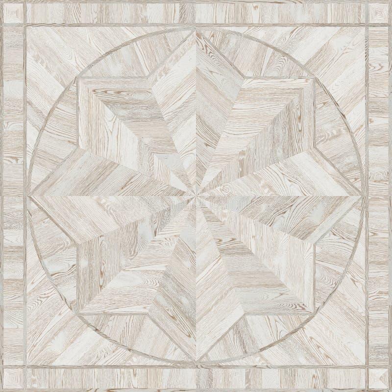 Medallion design grunge parquet floor, wooden seamless texture vector illustration