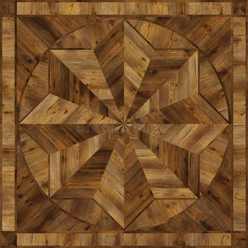 Medallion design grunge parquet floor, wooden seamless texture stock images