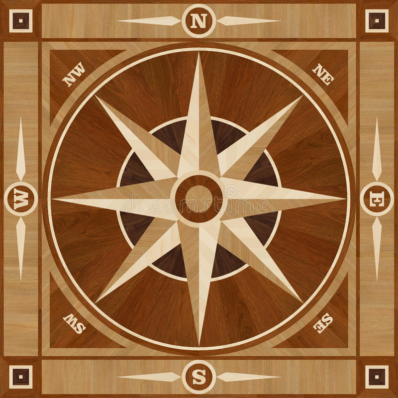 Medallion design parquet floor, compass rose. Wooden seamless texture for 3D interior royalty free illustration
