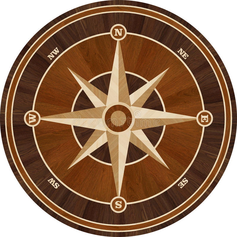 Medallion design parquet floor, compass rose royalty free stock images
