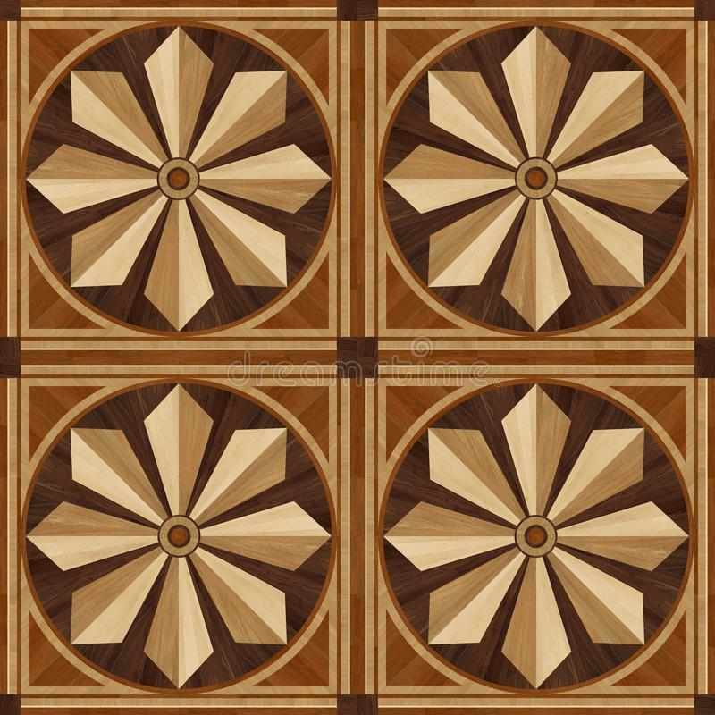 Medallion design parquet floor, wooden texture royalty free stock images