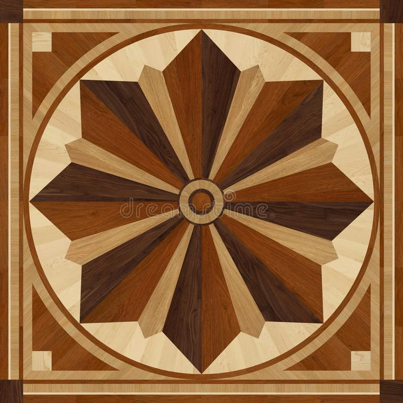 Medallion design parquet floor, wooden texture stock image
