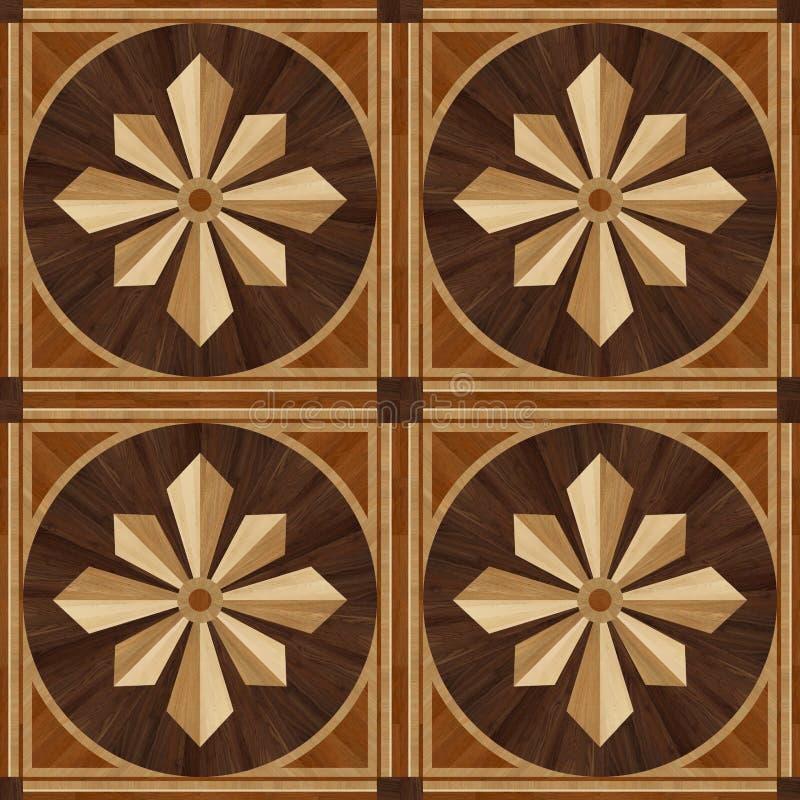 Medallion design parquet floor, wooden texture vector illustration
