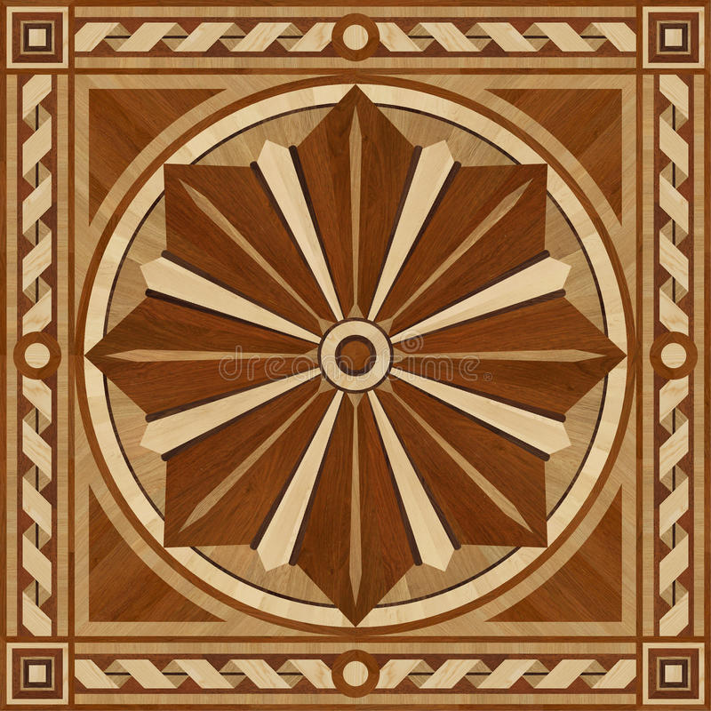 Medallion design parquet floor, wooden texture royalty free stock photo