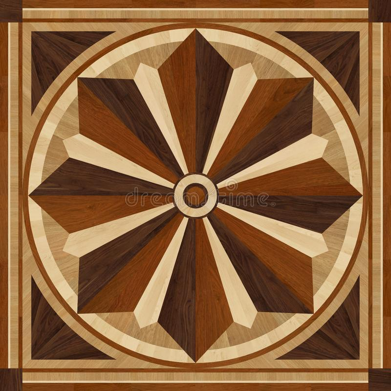 Medallion design parquet floor, wooden texture royalty free stock image