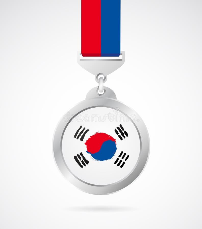 Medallista de plata con la bandera coreana libre illustration