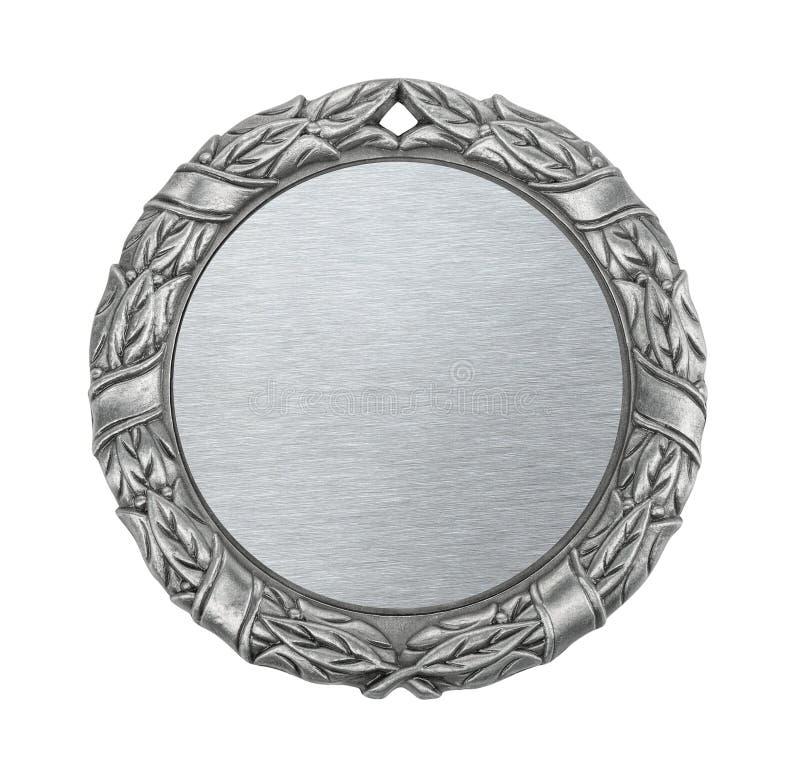 Medallista de plata en blanco imagenes de archivo