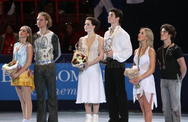 Medallistas en danza del hielo imagen de archivo libre de regalías