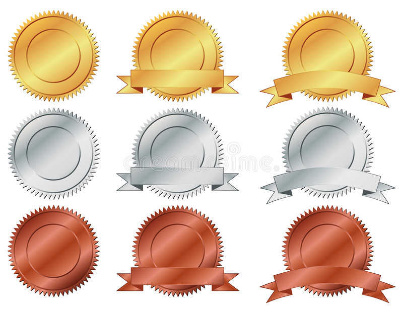 Medals. Nine Medals of Achievement. , gold, silver and bronze. inside area of medal can be personalized vector illustration
