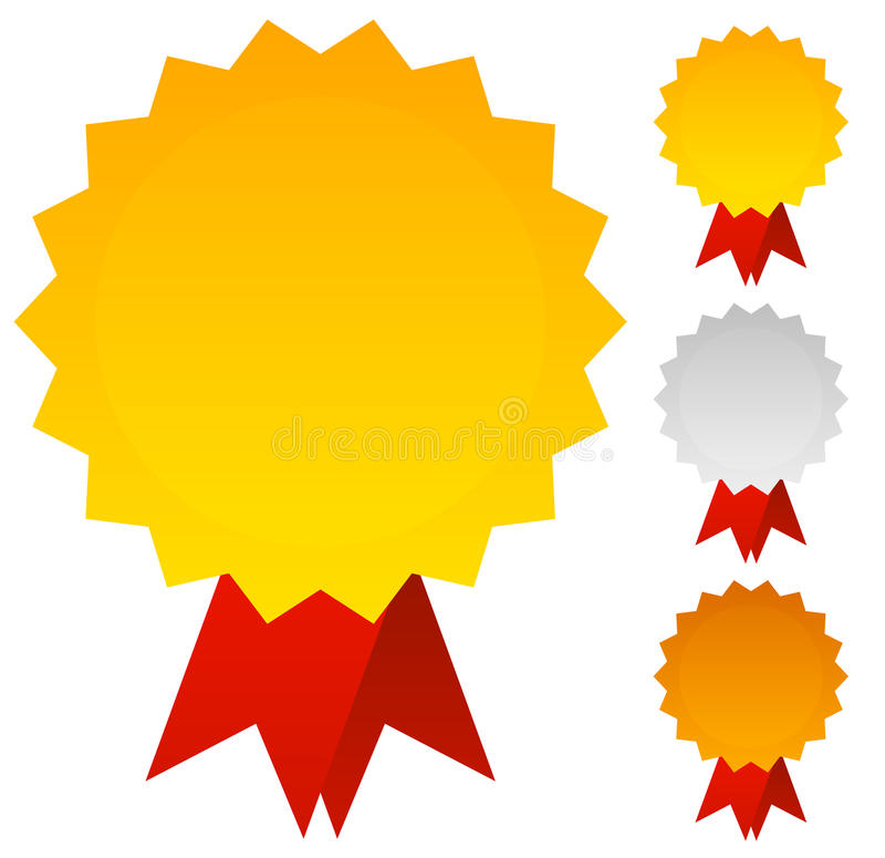 Medals, Badges or Awards in Gold, Silver and Bronze with Red Rib royalty free illustration