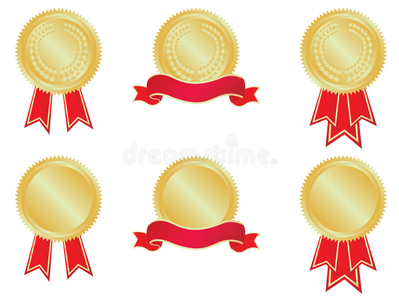 Medals and banners. Set of medals and banners. No gradient meshes used, so very easy to edit royalty free illustration
