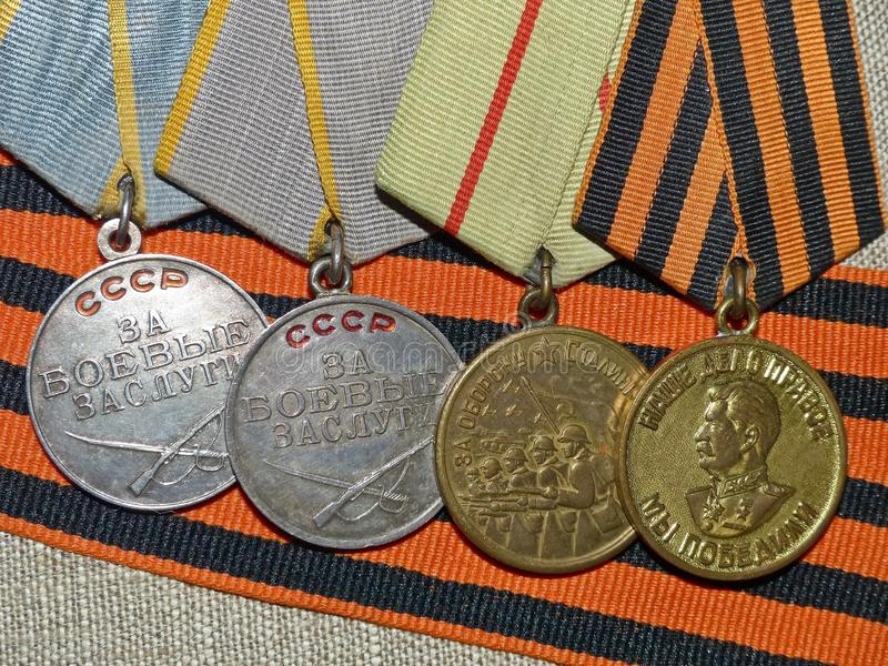 Medals 'For the Defense of Stalingrad', 'For Military merit', 'of Victory in the Great Patriotic war 1941-1945' stock fotografie