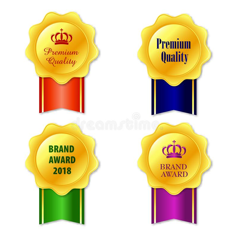 Medals icon. Elegant golden labels collection set. Gold ribbon award icon isolated white background. vector illustration