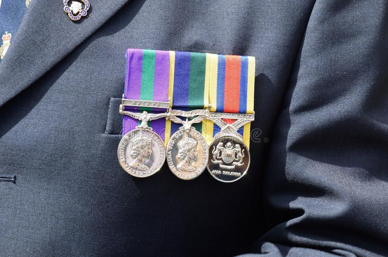 Medals pinned to chest. Of veteran royalty free stock photos