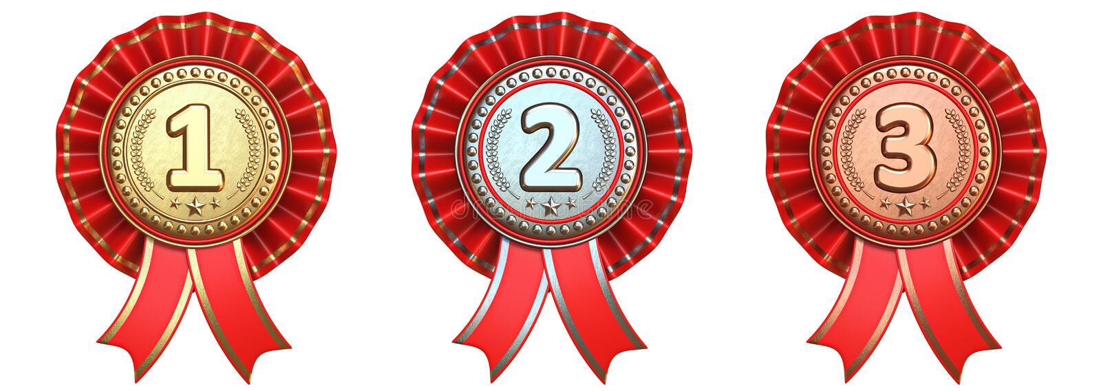 Medals with red ribbons 3D stock images