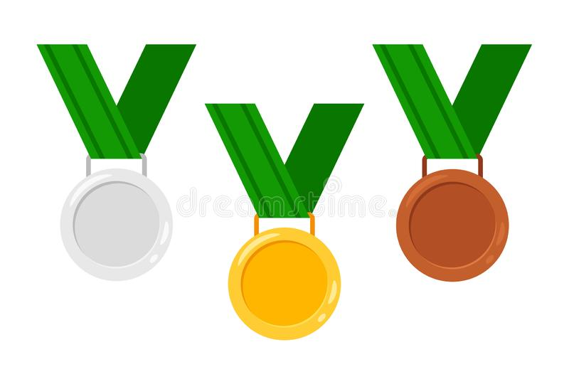 Medals with ribbons vector illustration