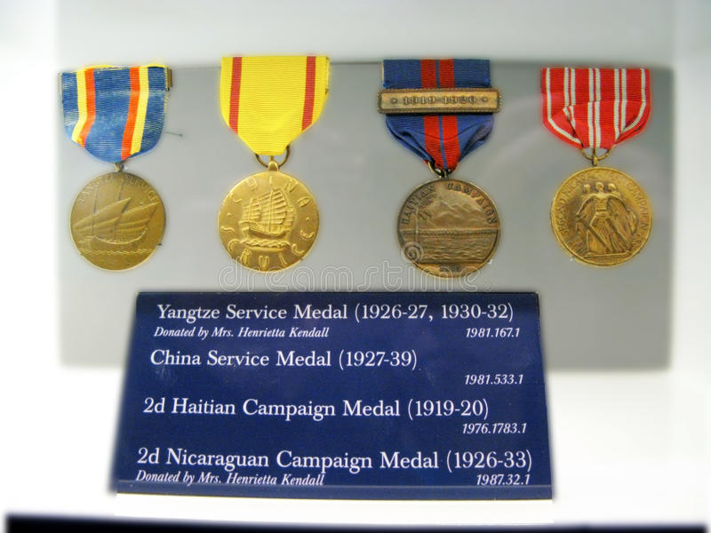 Medals, USMC. Four service medals. National United States Marine Corps Museum in Virginia royalty free stock image