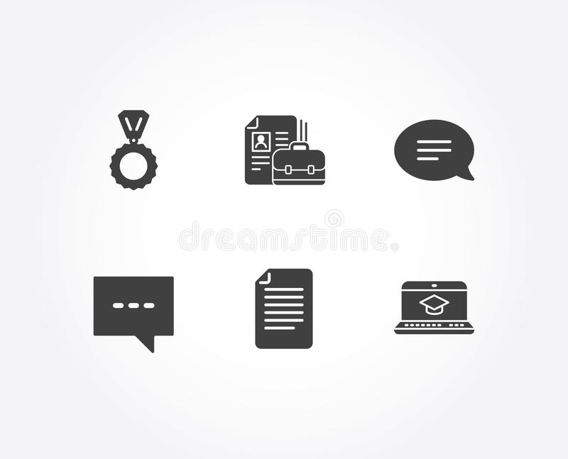 Medalu, kartoteki i gadki ikony, Wakata, blogu i strony internetowej edukaci znaki, Zwycięzca, papier strona, mowa bąbel ilustracja wektor