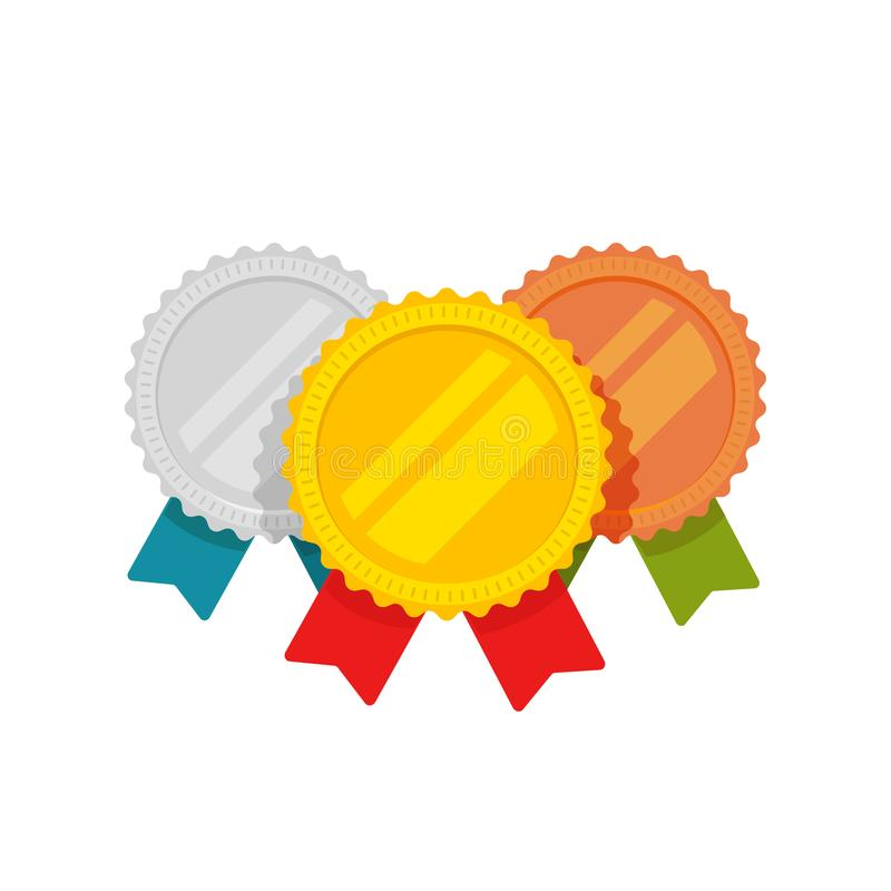 Medalu wektor, płaski kreskówki złoto, brąz i srebrny medal z, czerwienią, zielenią i błękitnym faborkiem, sport nagrody medalion royalty ilustracja