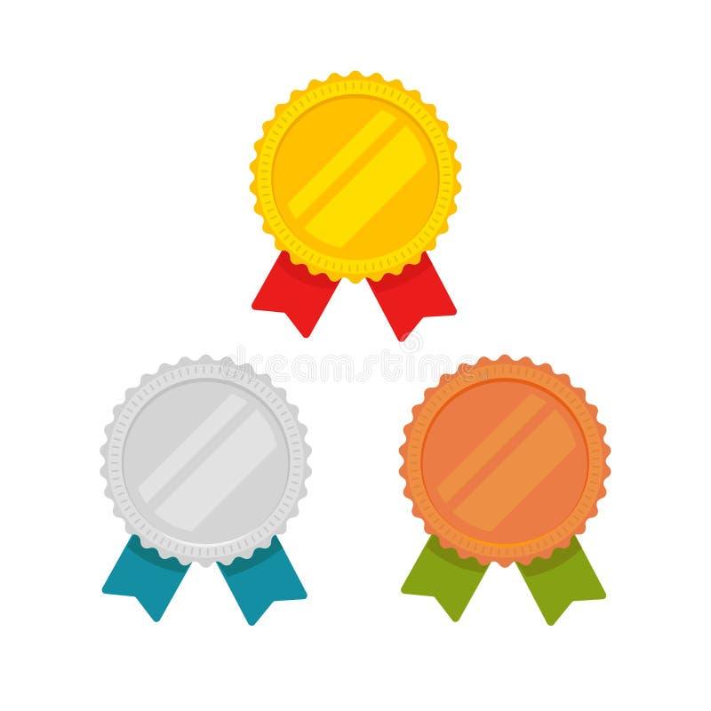 Medalu wektor ustawia złoto, brąz i srebrnego medal z odosobnionego, płaskiego, czerwienią, zielenią i błękitnym faborkiem, sport ilustracji