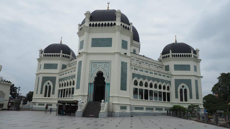 MEDAN, INDONESIË - SEPTEMBER 19.2017: Masjid Raya Al Mashun is een moskee in Medan, Indonesië wordt gevestigd dat royalty-vrije stock fotografie