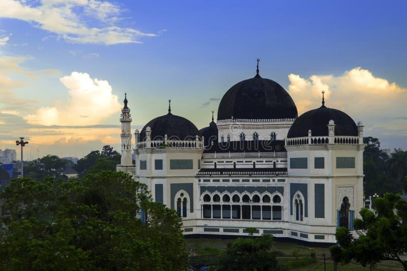 Medan Wielki meczet przy rankiem. fotografia stock