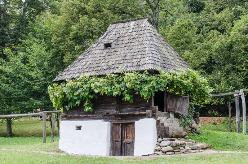 Medborgare Astra Museum i Sibiu - gammalt traditionellt hus (många stilar och former) royaltyfri fotografi