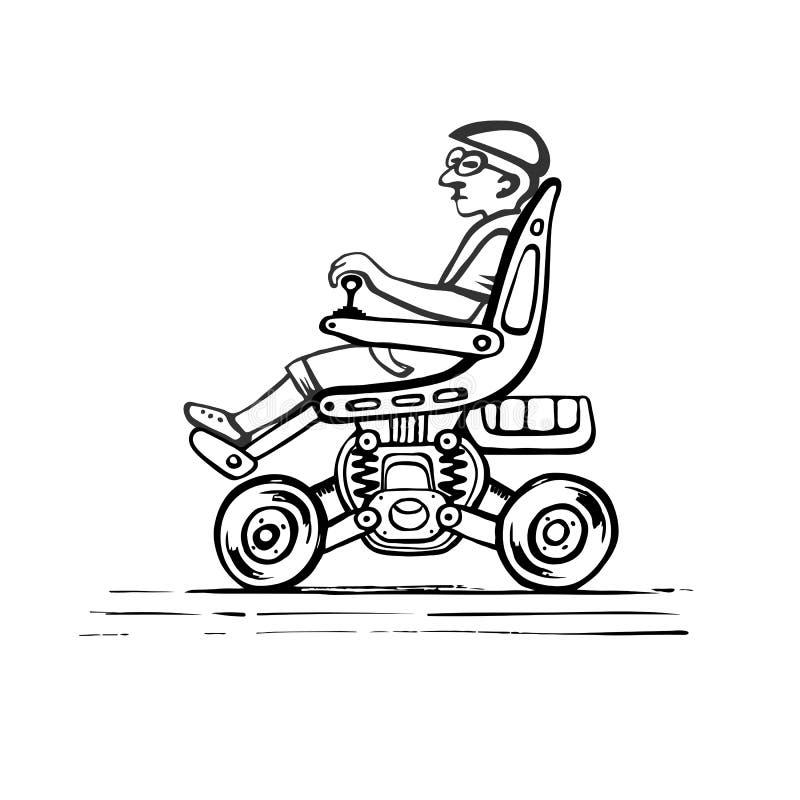 Medborgare i en elektrisk rullstol royaltyfri illustrationer