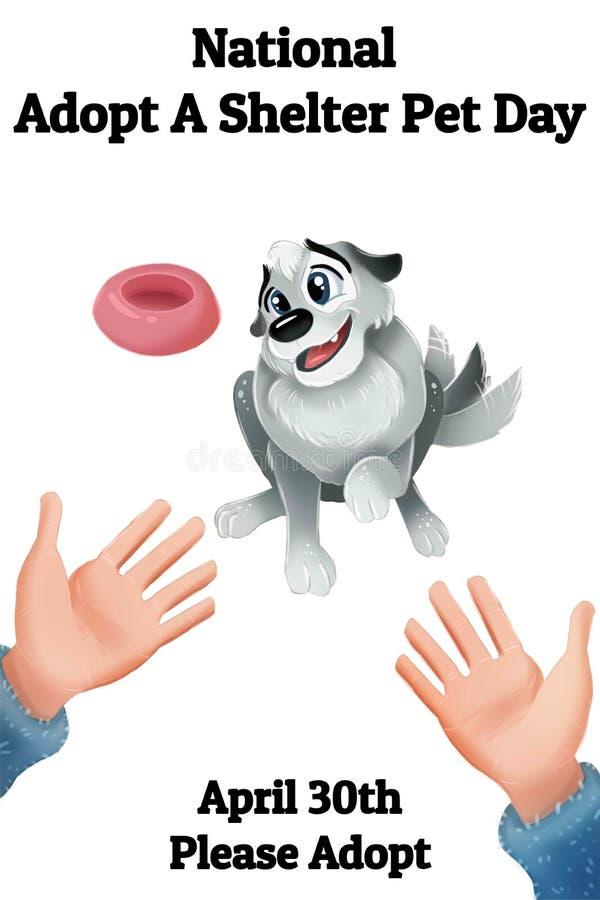 Medborgaren adopterar en skyddhusdjurdag 30 April Please adopterar Den gulliga hund- och maskinskrivet manuskriptaffischen för da vektor illustrationer