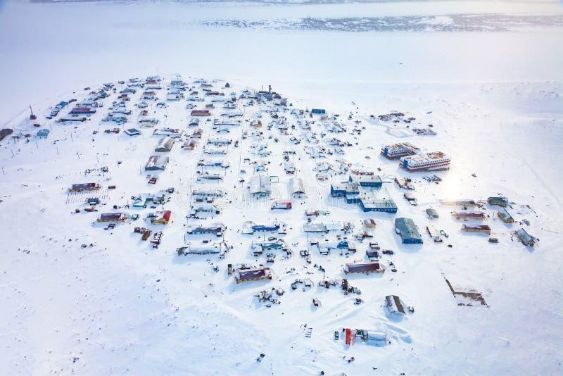 MedborgareNenets ren som samlas byn Nosok i den norr Krasnoyarsk regionen, flyg- sikt arkivbild