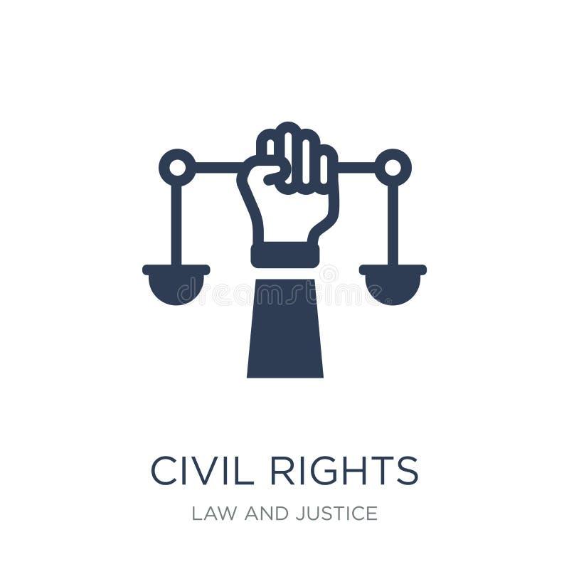 medborgerlig rättighetsymbol Moderiktig plan vektormedborgerlig rättighetsymbol på vit vektor illustrationer