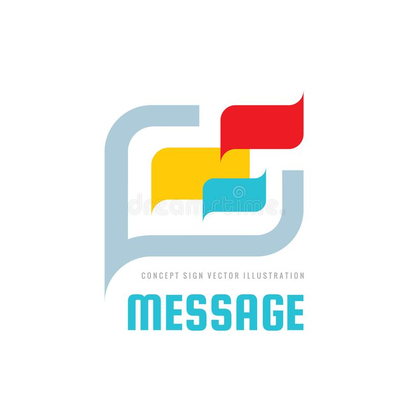 Meddelande - anförande bubblar illustrationen för vektorlogobegreppet i plan stil Talande symbol för dialog pratstundtecken Socia royaltyfri illustrationer