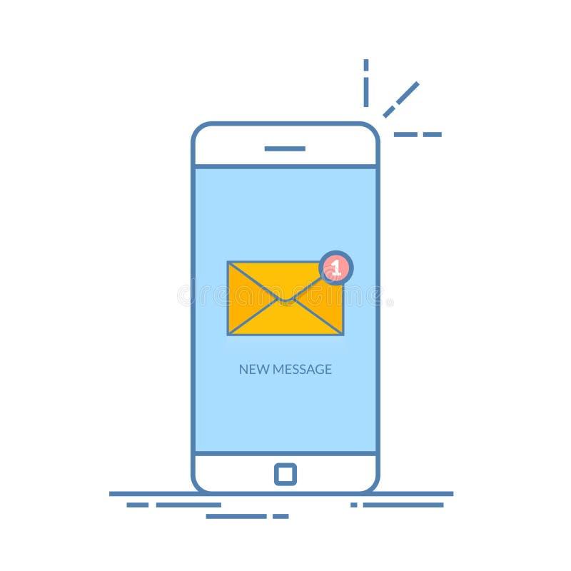 Meddelande av en inkommande emailbokstav till en mobiltelefon E-brevskickande skräppost, e-kommers Vibrationssmartphone Tunt fodr vektor illustrationer