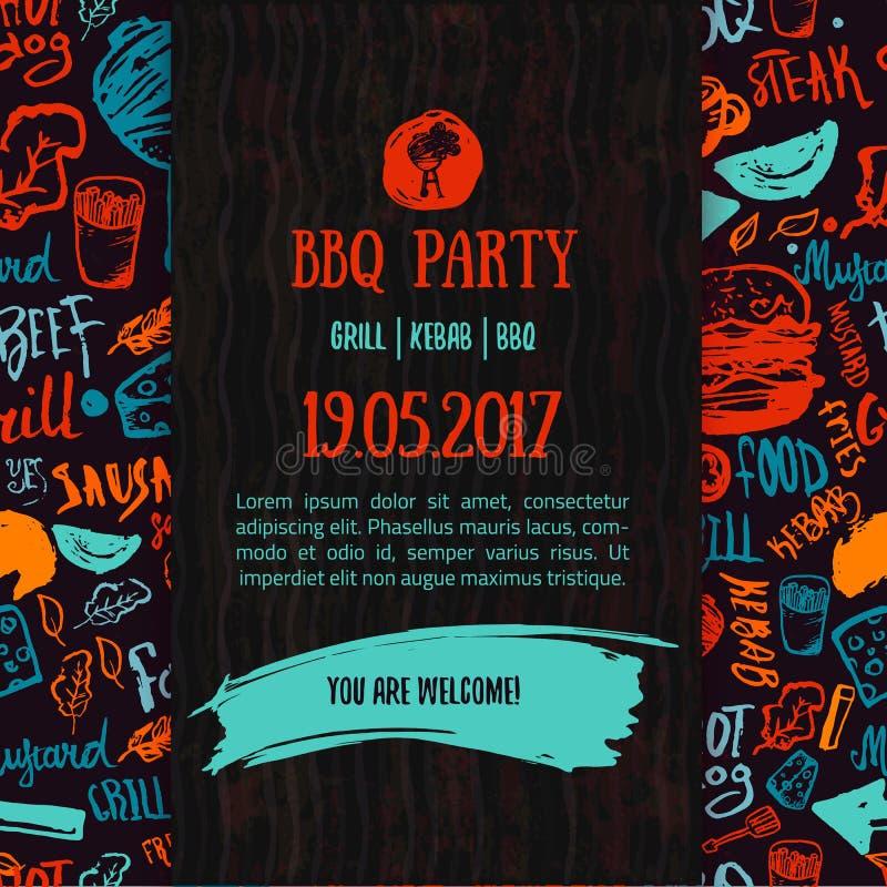 Meddelande för BBQ-öppningsparti Klottra dendrog affischen med grillfesttillbehör, bokstäver, händelsedatumet och tid stock illustrationer