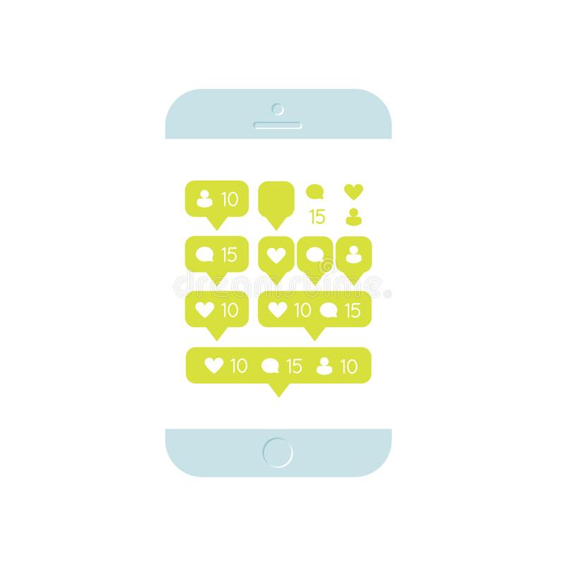 Meddelande för följande Websites, bloggen, manöverenheter, det sociala nätverket och massmedia, mobil enhet SMM, socialt marknads royaltyfri illustrationer