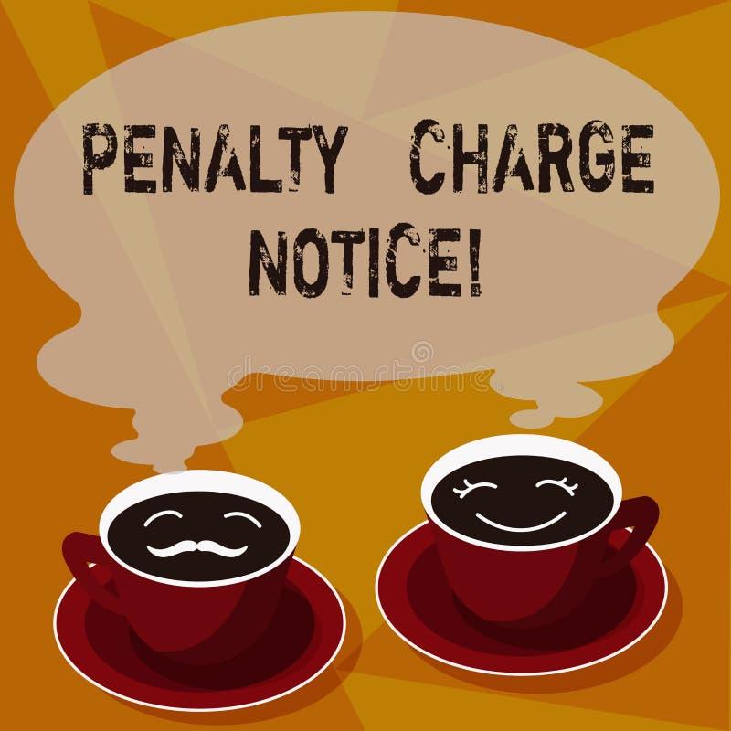 Meddelande för laddning för straff för textteckenvisning Begreppsmässiga fotoböter som utfärdas av polisen för mycket mindre förs vektor illustrationer