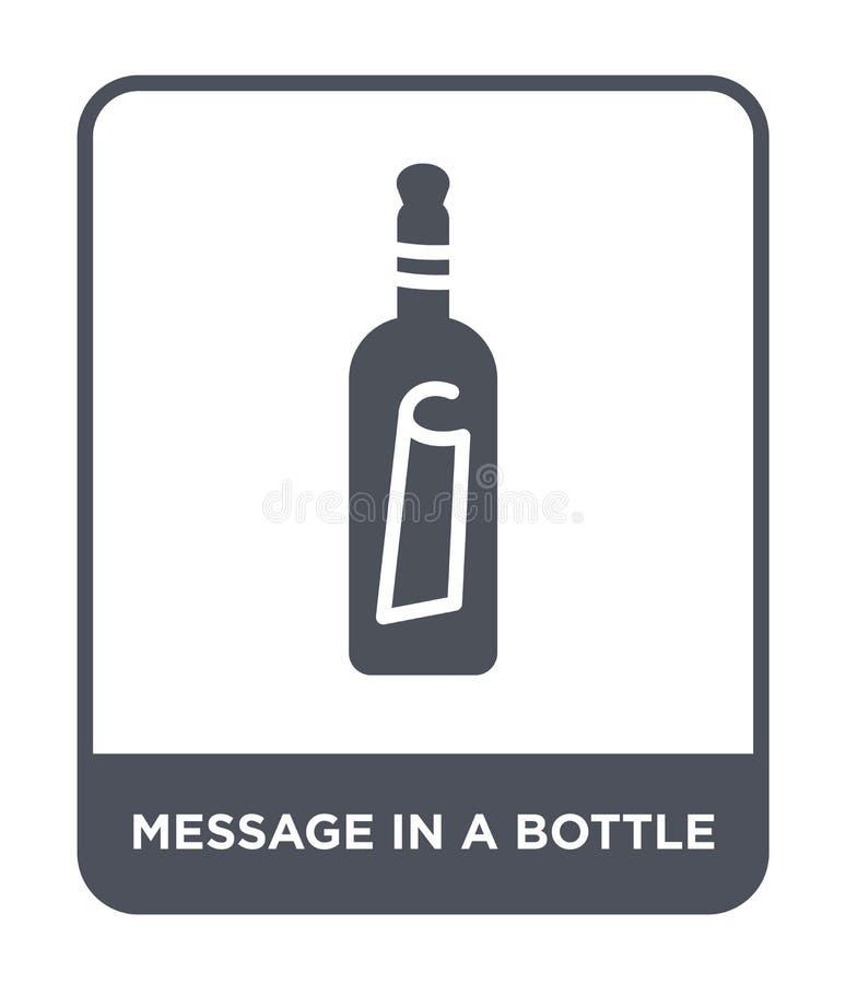 meddelande i en flasksymbol i moderiktig designstil Meddelande i en flasksymbol som isoleras på vit bakgrund Meddelande i en flas royaltyfri illustrationer