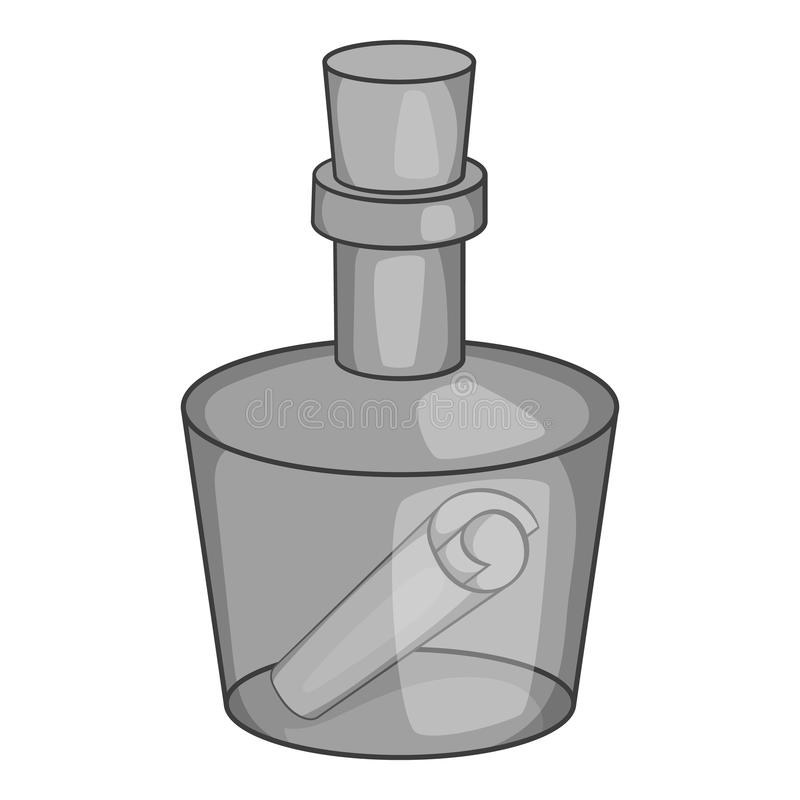 Meddelande i en flasksymbol, svart monokrom stil stock illustrationer