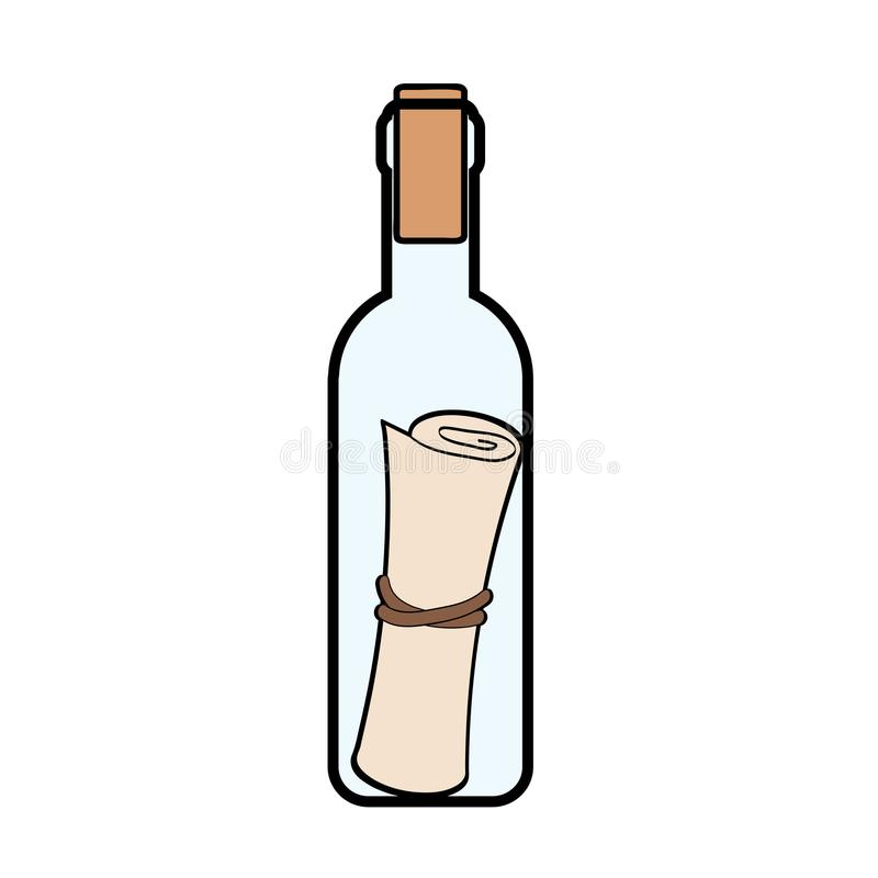 Meddelande i flasksymbolen i tecknad filmstil som isoleras på vita lodisar stock illustrationer