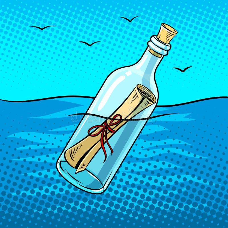 Meddelande i illustration för vektor för flaskpopkonst stock illustrationer