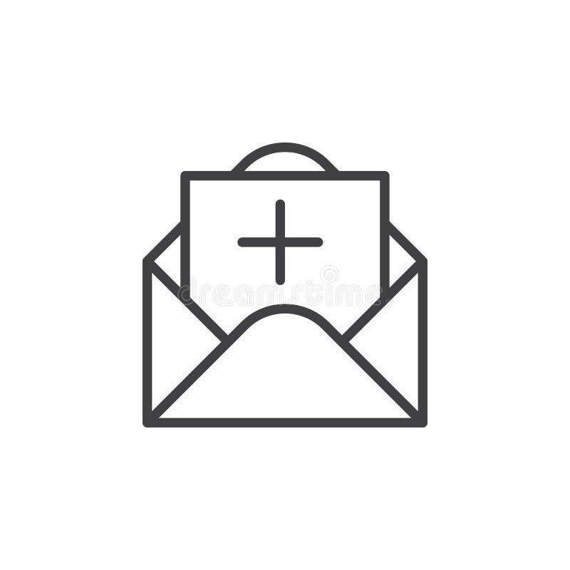 Meddelande med plus linjen symbol, översiktsvektortecken, linjär stilpictogram som isoleras på vit vektor illustrationer