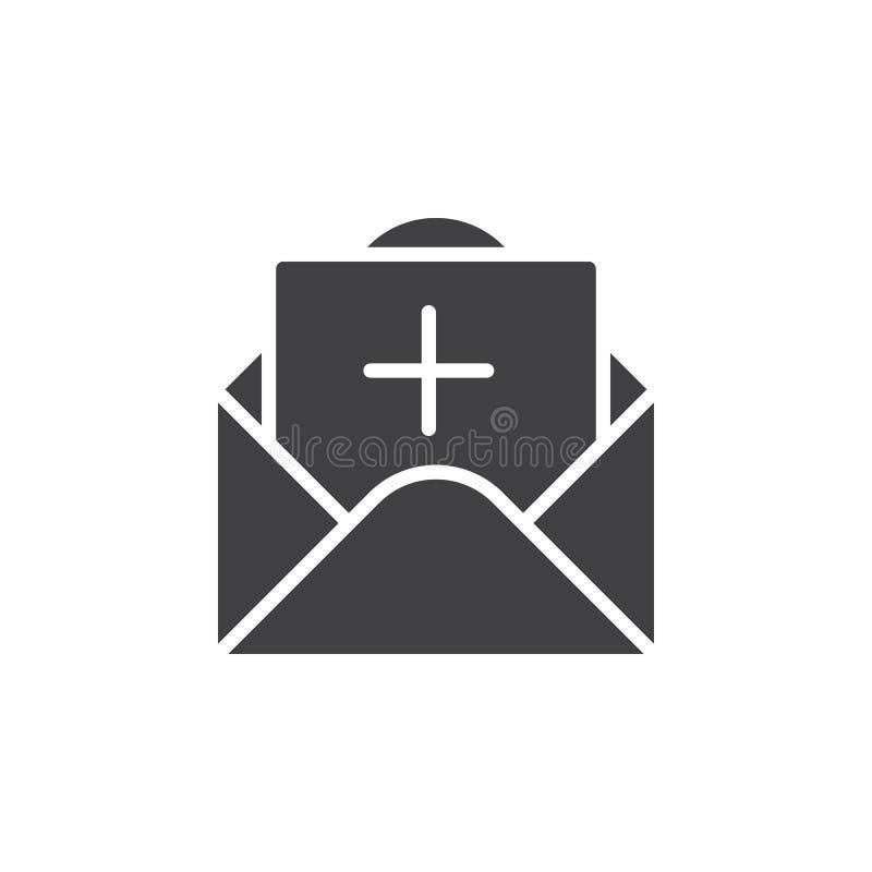 Meddelande med plus symbolsvektorn, fyllt plant tecken, fast pictogram som isoleras på vit stock illustrationer