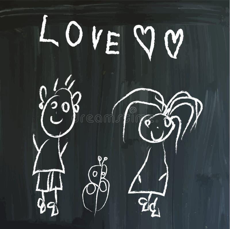 Meddelande på en svart tavla stock illustrationer