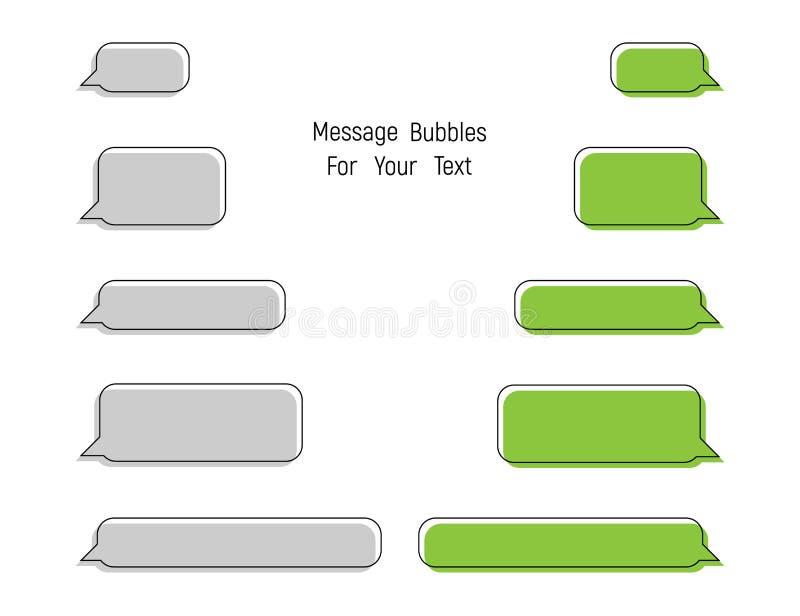 Meddelandebubblor för din text Symboler för meddelandebubblavektor i moderiktig plan design royaltyfri illustrationer