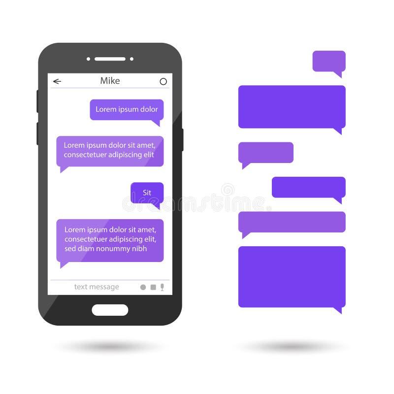 Meddelandebubblor ställde in för pratstund, messaging Smartphone mall royaltyfri illustrationer