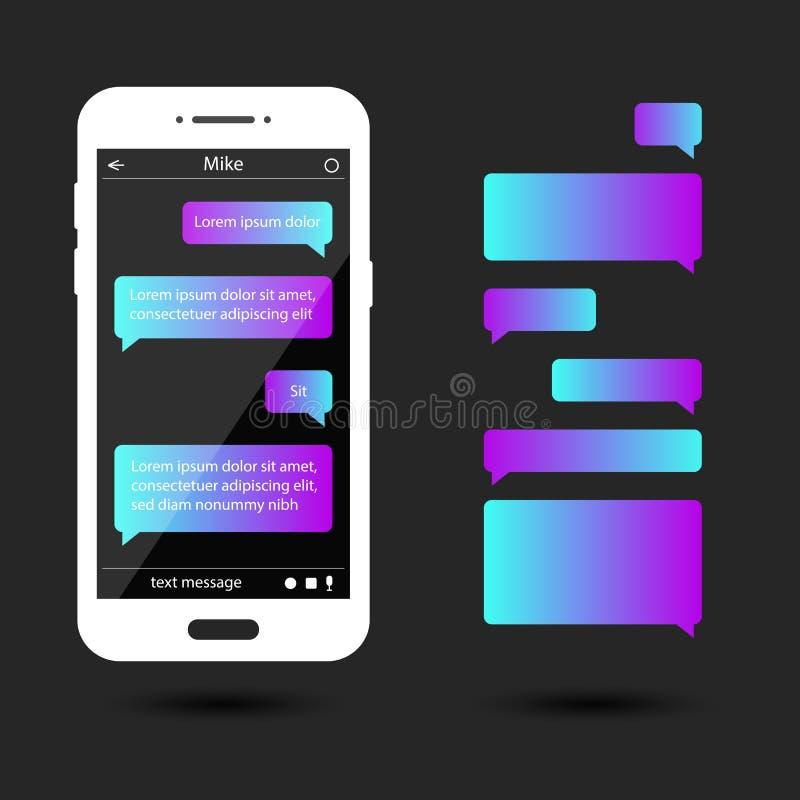 Meddelandebubblor ställde in för pratstund, messaging Smartphone mall vektor illustrationer
