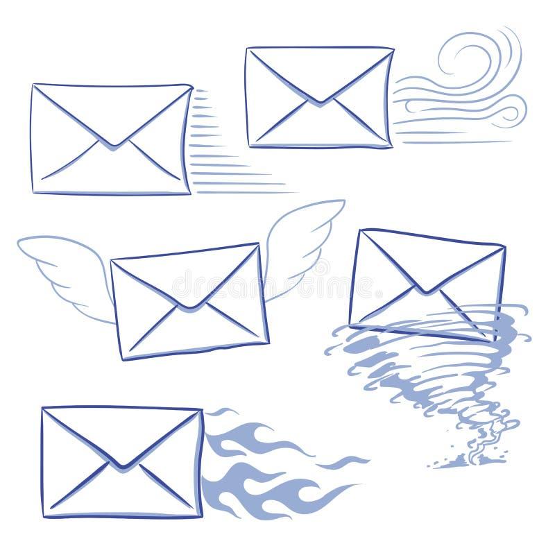 Meddelandekuvert i rätt tid royaltyfri illustrationer