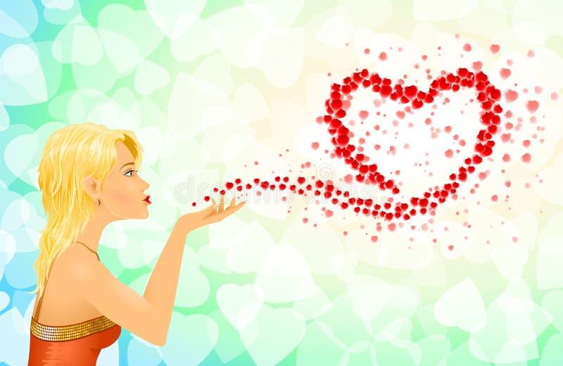 Meddelanden för förälskelse för flickahjärtatecken royaltyfri illustrationer