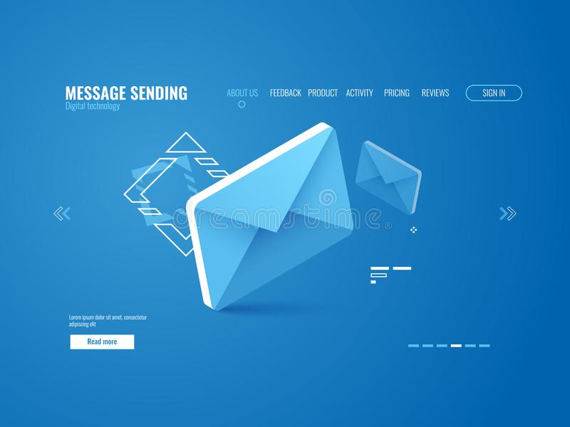Meddelandesymbol, email som överför begreppet, online-advertizing, isometrisk webbsidamall royaltyfri illustrationer